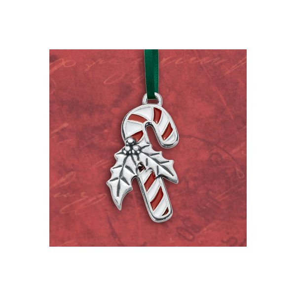 Candy Cane Pewter Ornament with Enamel Detail Image 2 J. Schrecker Jewelry Hopkinsville, KY