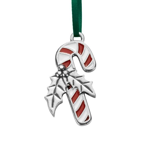 Candy Cane Pewter Ornament with Enamel Detail J. Schrecker Jewelry Hopkinsville, KY