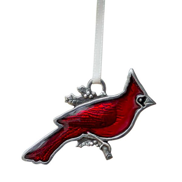 Cardinal Pewter Ornament with Red Enamel Detail J. Schrecker Jewelry Hopkinsville, KY