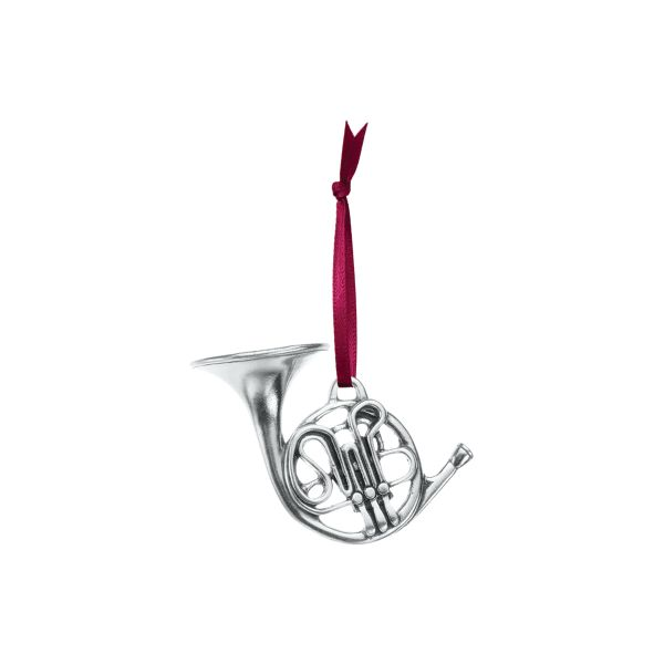 French Horn Pewter Ornament J. Schrecker Jewelry Hopkinsville, KY