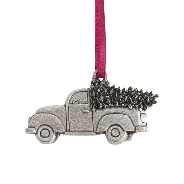 Truck with Christmas Tree Pewter Ornament J. Schrecker Jewelry Hopkinsville, KY
