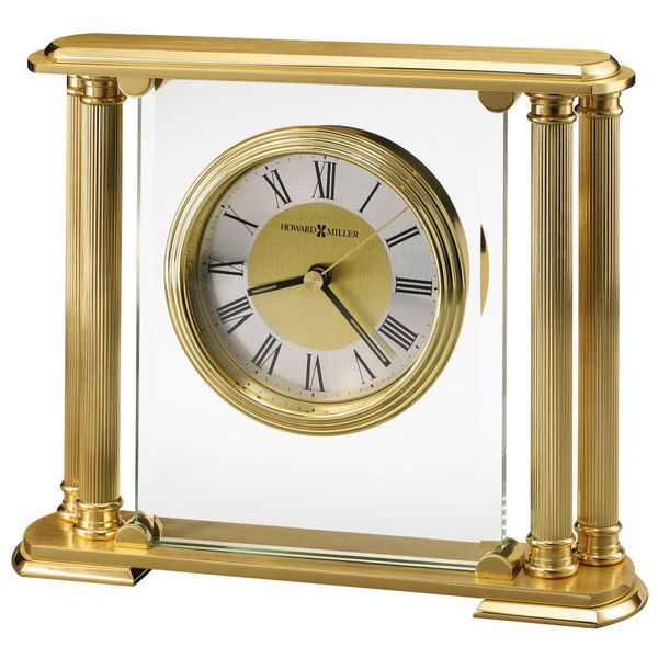 Athens Brushed Finish Solid Brass and Glass Table Clock J. Schrecker Jewelry Hopkinsville, KY