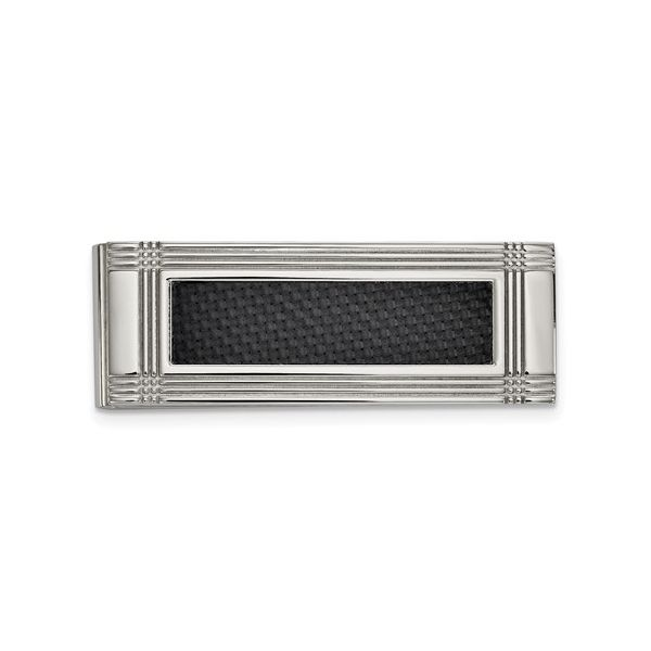Stainless Steel Money Clip with Black Carbon Fiber Inlay J. Schrecker Jewelry Hopkinsville, KY