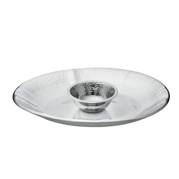 Lenox Stony Creek Aluminum Chip Platter and Dip Bowl in a Hammered Polished Finish J. Schrecker Jewelry Hopkinsville, KY