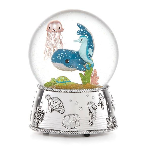 Mystic Sea Water Globe with Whale, Seahorse, Plays 'Row Your Boat' J. Schrecker Jewelry Hopkinsville, KY