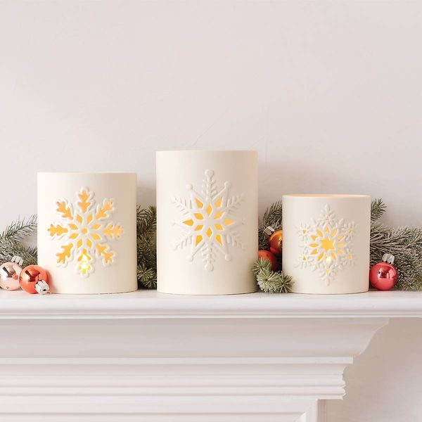 Lenox Large Snowflake Votive in Cream Bisque Porcelain Image 3 J. Schrecker Jewelry Hopkinsville, KY
