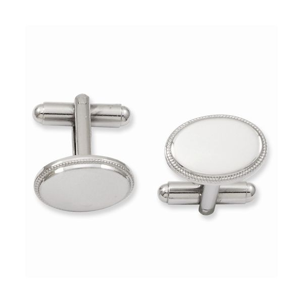 Engravable Oval Cuff Links with Beaded Edge Detail J. Schrecker Jewelry Hopkinsville, KY