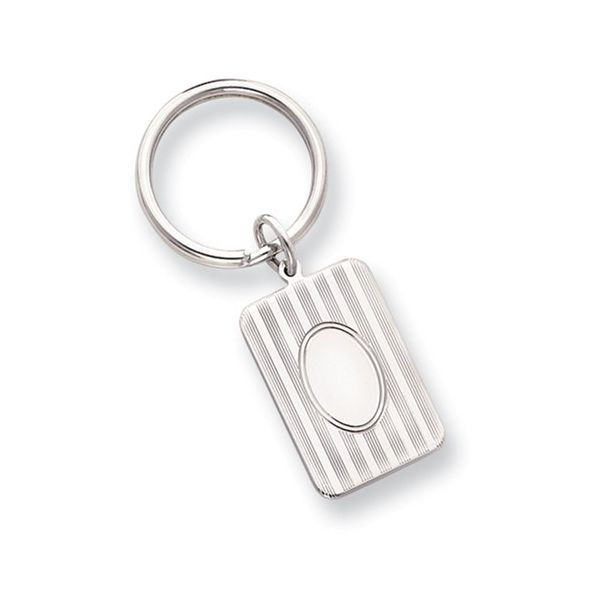 Engravable Key Ring with Pinstripe Detail J. Schrecker Jewelry Hopkinsville, KY