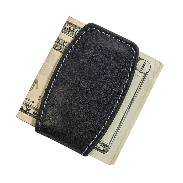 Black Leather Money Clip with Magnetic Closure J. Schrecker Jewelry Hopkinsville, KY