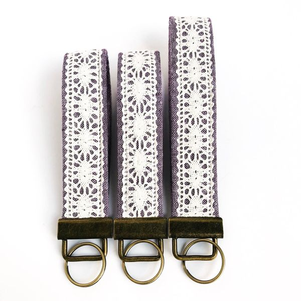 Eggplant with Ecru Lace Long Fobskey Wristlet Key Ring Image 3 J. Schrecker Jewelry Hopkinsville, KY