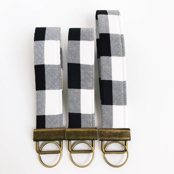 Black and White Buffalo Plaid Fabric Fobskey Wrist Wrap Keychain, Regular Image 3 J. Schrecker Jewelry Hopkinsville, KY