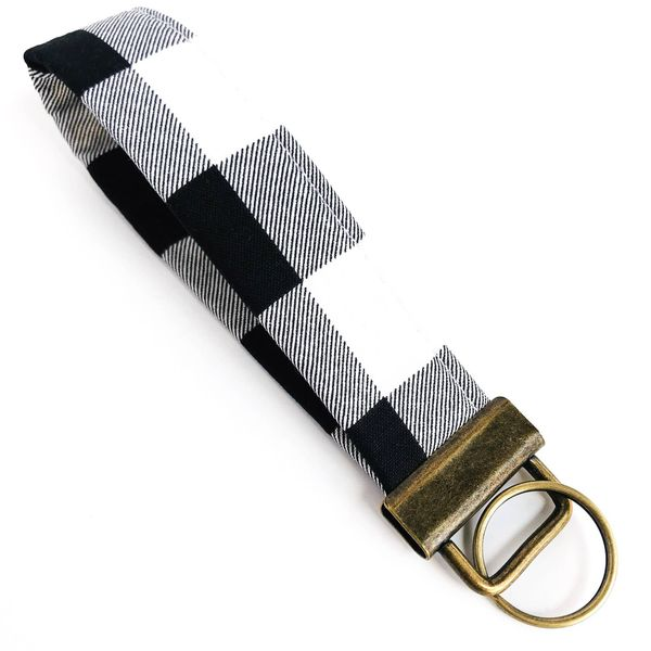 Black and White Buffalo Plaid Fabric Fobskey Wrist Wrap Keychain, Regular J. Schrecker Jewelry Hopkinsville, KY