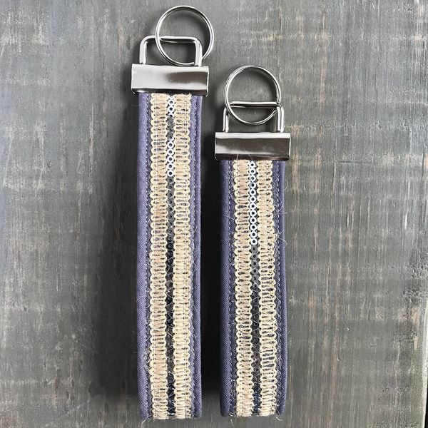 Gray & Silver Sequin Boho Regular Fobskey Wristlet Key Ring Image 3 J. Schrecker Jewelry Hopkinsville, KY