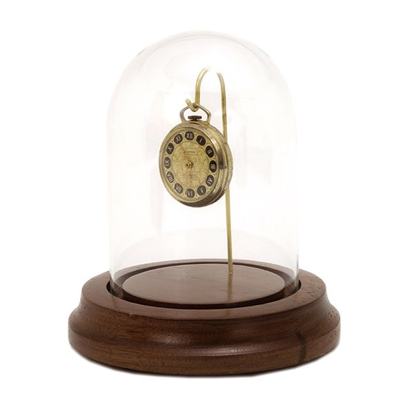 Glass Watch Dome with Brass Wire Hook and Mahogany Finished Base J. Schrecker Jewelry Hopkinsville, KY