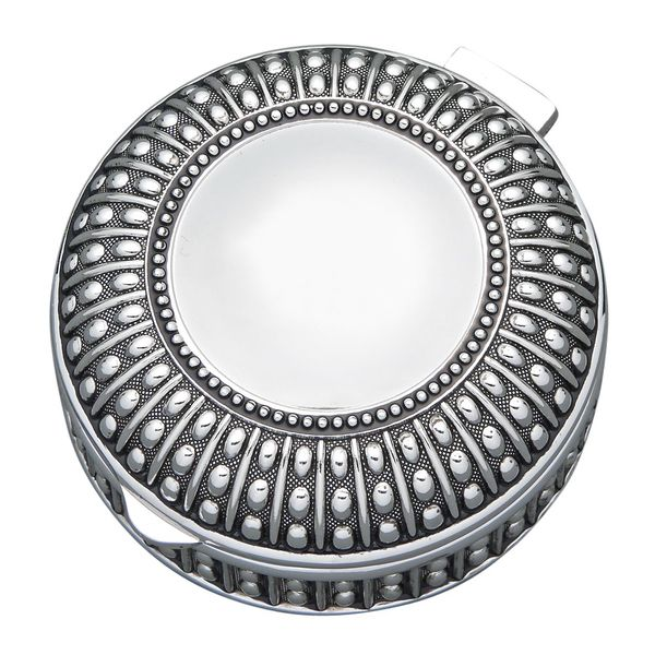Small Silver Plated Round Box with Bead Design J. Schrecker Jewelry Hopkinsville, KY