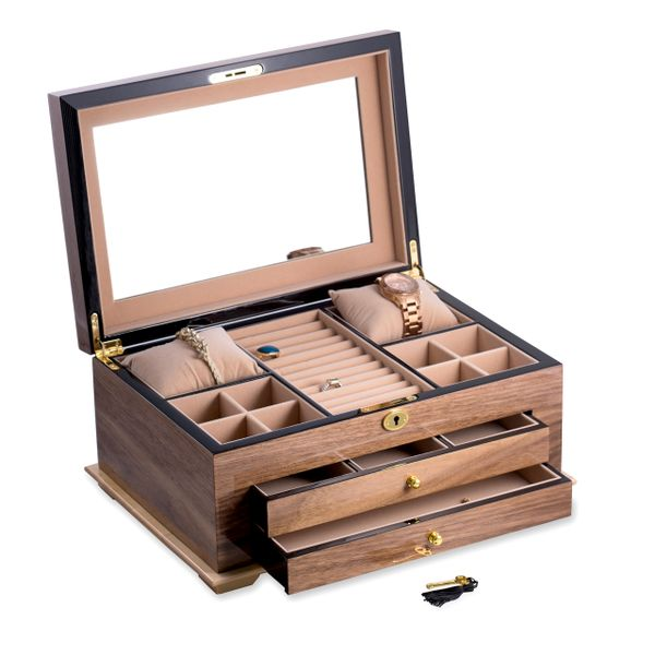 Walnut Locking Jewelry Box with Beige Interior Image 2 J. Schrecker Jewelry Hopkinsville, KY
