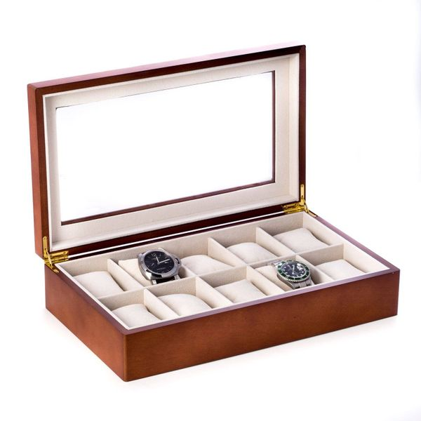 Ten Watch Case in Cherry with Hinged Glass Lid J. Schrecker Jewelry Hopkinsville, KY