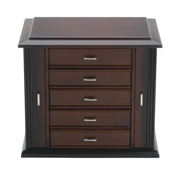 Reed & Barton Dark Mahogany Diva Jewelry Chest with Pale Aloe Interior Image 2 J. Schrecker Jewelry Hopkinsville, KY