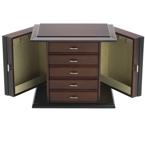 Reed & Barton Dark Mahogany Diva Jewelry Chest with Pale Aloe Interior J. Schrecker Jewelry Hopkinsville, KY