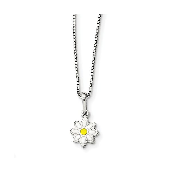 Sterling Silver Daisy Flower Pendant with White and Yellow Enamel J. Schrecker Jewelry Hopkinsville, KY