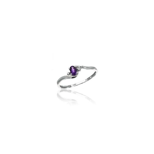 White Gold February Birthstone Oval Amethyst and Diamond Ring J. Schrecker Jewelry Hopkinsville, KY