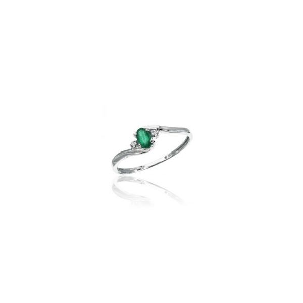 White Gold May Birthstone Oval Emerald and Diamond Ring J. Schrecker Jewelry Hopkinsville, KY