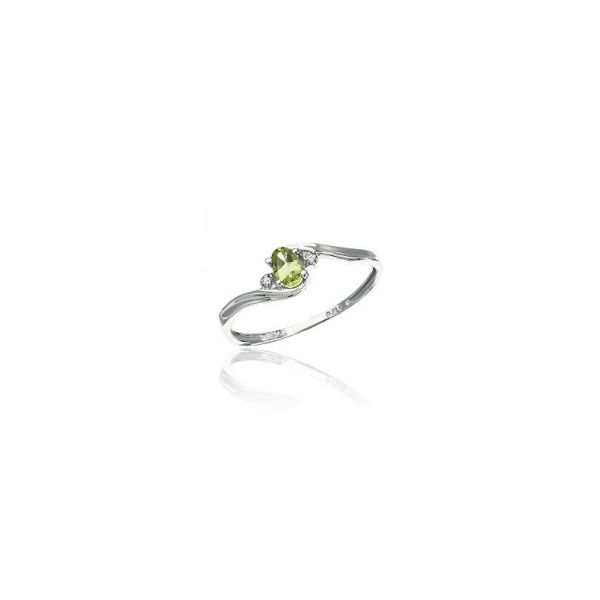 White Gold August Birthstone Oval Peridot and Diamond Ring J. Schrecker Jewelry Hopkinsville, KY