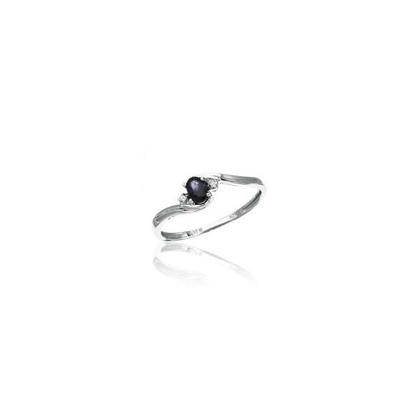 White Gold September Birthstone Oval Sapphire and Diamond Ring J. Schrecker Jewelry Hopkinsville, KY