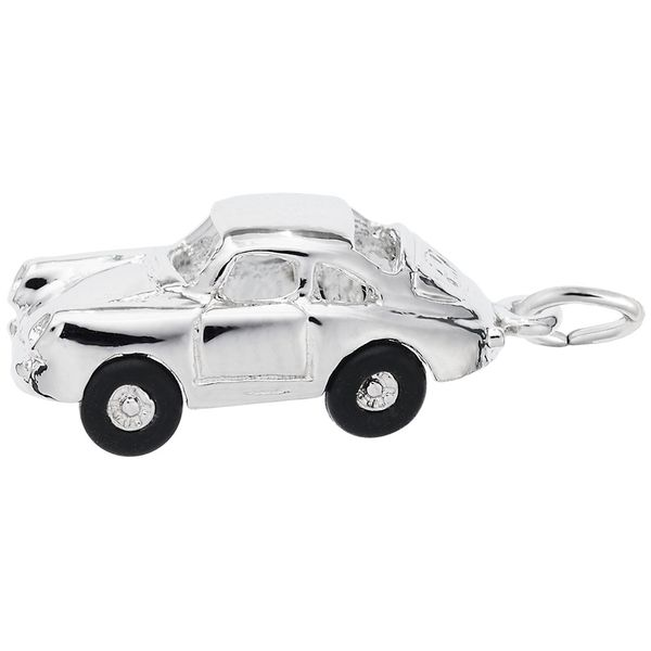 Sterling Silver Three Dimensional 356 Coupe Charm with Black Rubber Tires J. Schrecker Jewelry Hopkinsville, KY