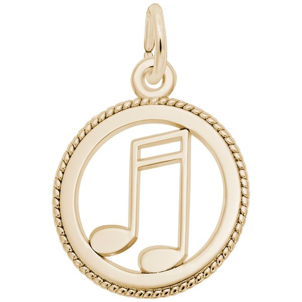 Yellow Gold Music Notes in Circle Charm J. Schrecker Jewelry Hopkinsville, KY