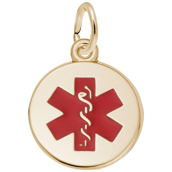 Gold Plated Sterling Silver Medical Symbol Disc Charm with Red Enamel Detail J. Schrecker Jewelry Hopkinsville, KY