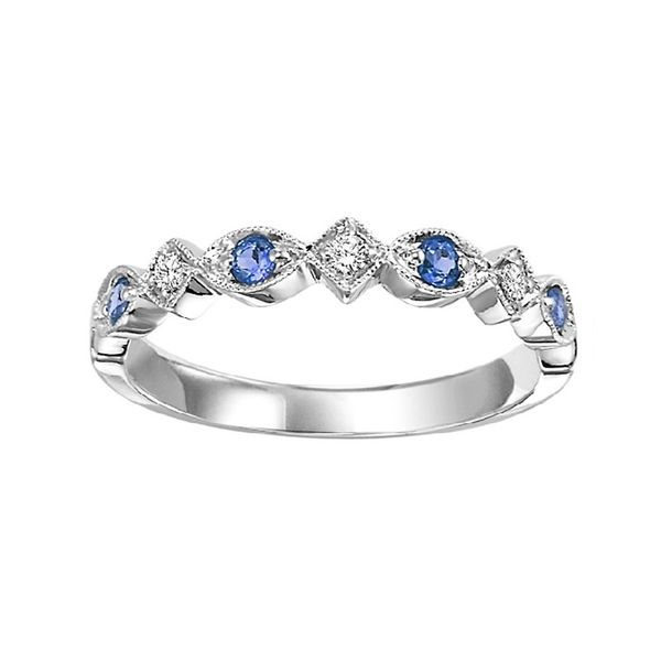 Blue Sapphire and Diamond Stackable Ring J. Thomas Jewelers Rochester Hills, MI