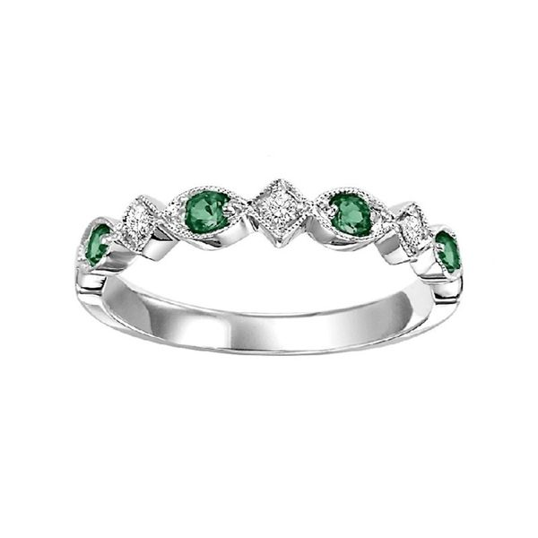 Emerald and Diamond Stackable Ring J. Thomas Jewelers Rochester Hills, MI