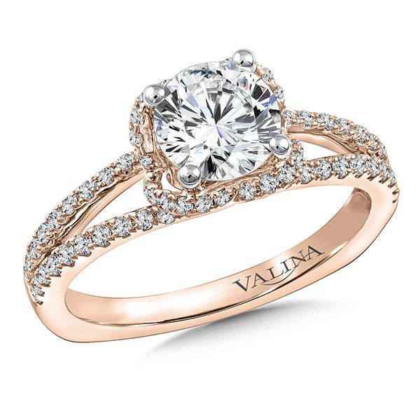 Valina Diamond Engagement Ring Mounting in 14K Rose Gold J. Thomas Jewelers Rochester Hills, MI