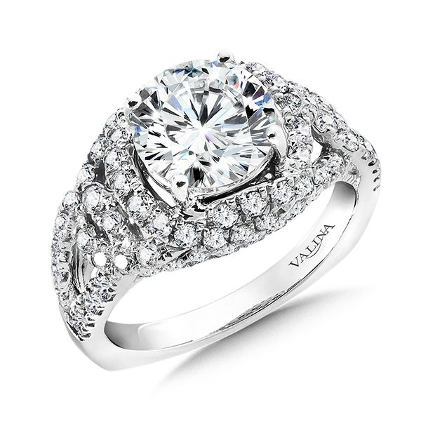 Split Shank Diamond Halo Ring J. Thomas Jewelers Rochester Hills, MI