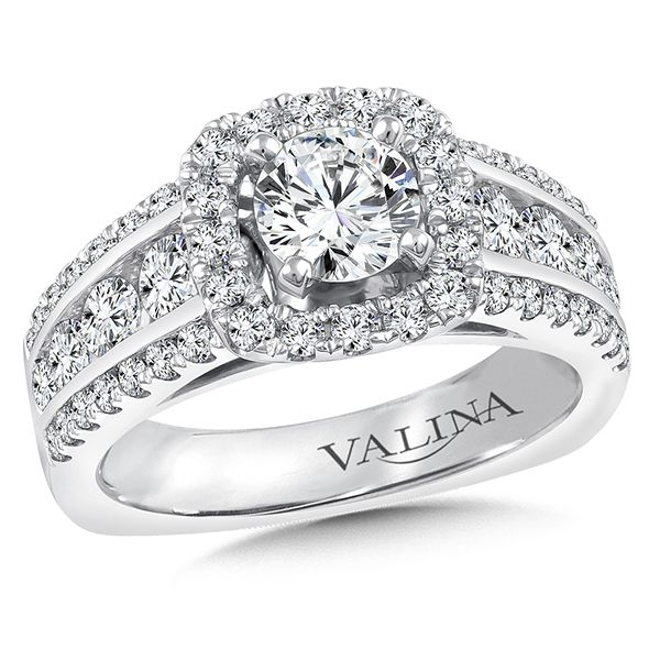 Valina Halo Engagement Ring Mounting in 14K White Gold J. Thomas Jewelers Rochester Hills, MI