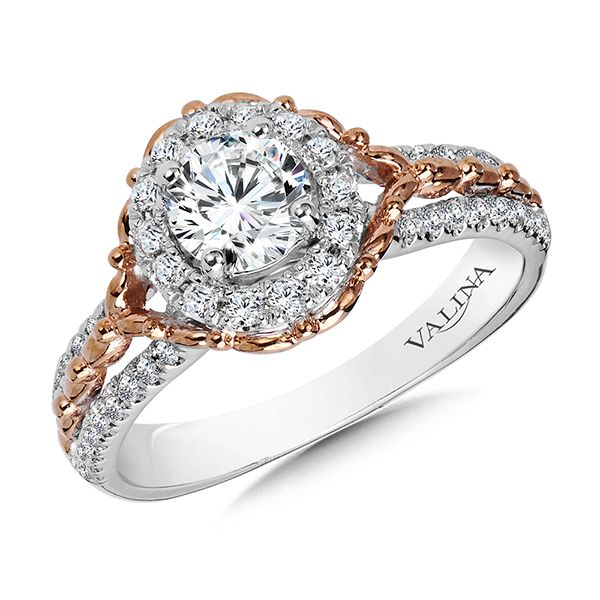Valina 14 Karat White and Rose gold Halo Engagement Ring J. Thomas Jewelers Rochester Hills, MI