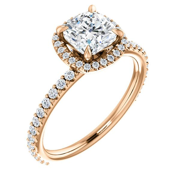 Cushion Halo Diamond Engagement Ring J. Thomas Jewelers Rochester Hills, MI