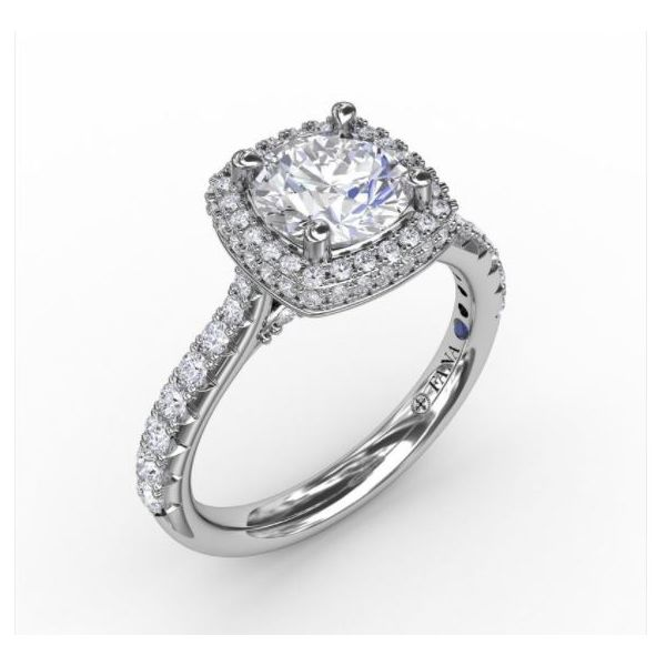 Waterfall Halo Engagement Ring J. Thomas Jewelers Rochester Hills, MI