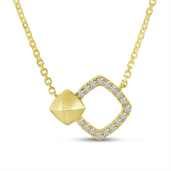 Yellow Gold Diamond Open Square Necklace J. Thomas Jewelers Rochester Hills, MI