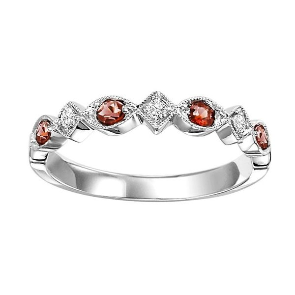Garnet and Diamond Stackable J. Thomas Jewelers Rochester Hills, MI