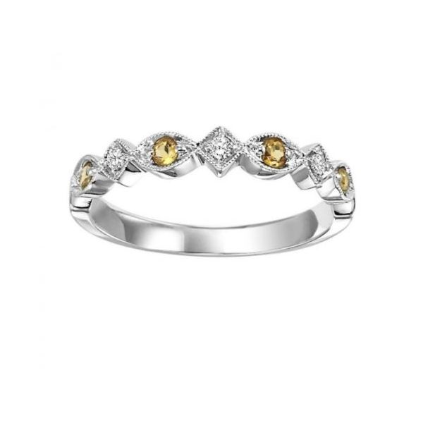 14 Karat White Gold Diamond And Citrine Stackable Ring J. Thomas Jewelers Rochester Hills, MI