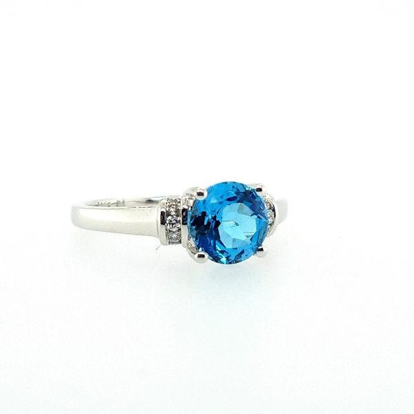 White Gold Blue Topaz RIng J. Thomas Jewelers Rochester Hills, MI