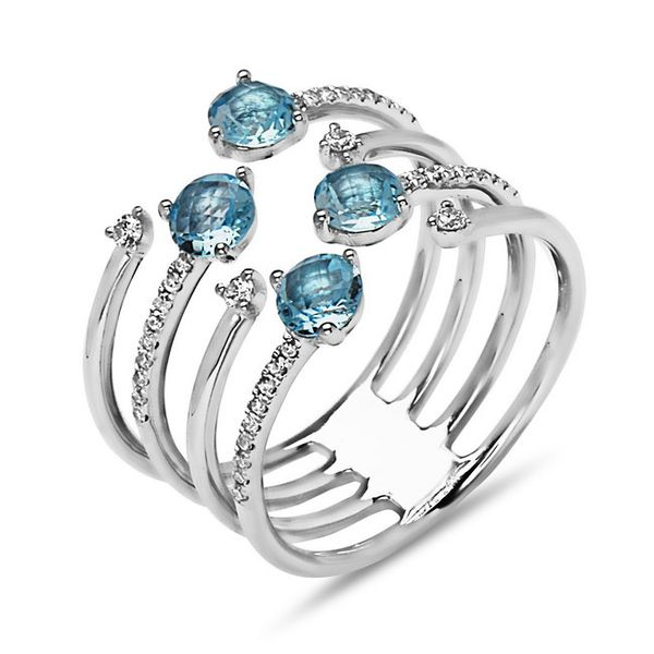 Contemporary Blue Topaz And Diamond Ring J. Thomas Jewelers Rochester Hills, MI