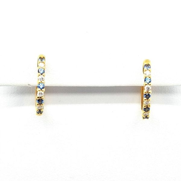 Yellow Gold Sapphire Hoops J. Thomas Jewelers Rochester Hills, MI