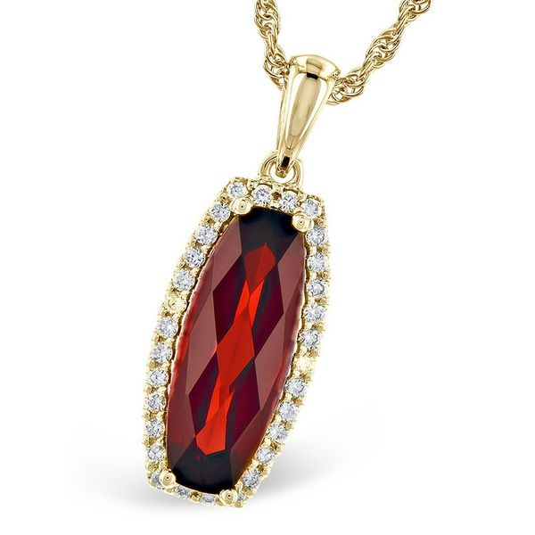 Checkerboard Garnet and Diamond Halo Necklace J. Thomas Jewelers Rochester Hills, MI