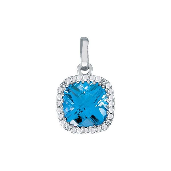 Blue Topaz and Diamond Pendant Image 2 J. Thomas Jewelers Rochester Hills, MI