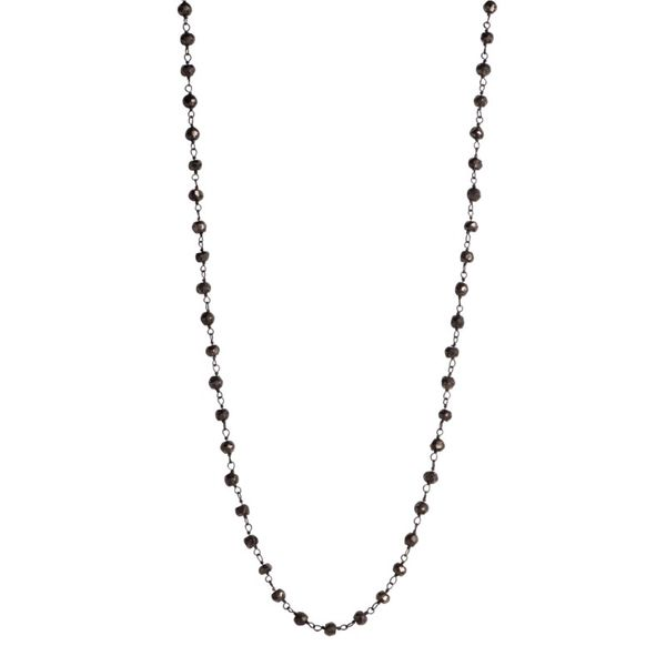 Pyrite Bead Necklace With Oxidized Chain J. Thomas Jewelers Rochester Hills, MI