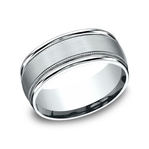 14 Karat White Gold Comfort Fit Wedding Band 8MM J. Thomas Jewelers Rochester Hills, MI