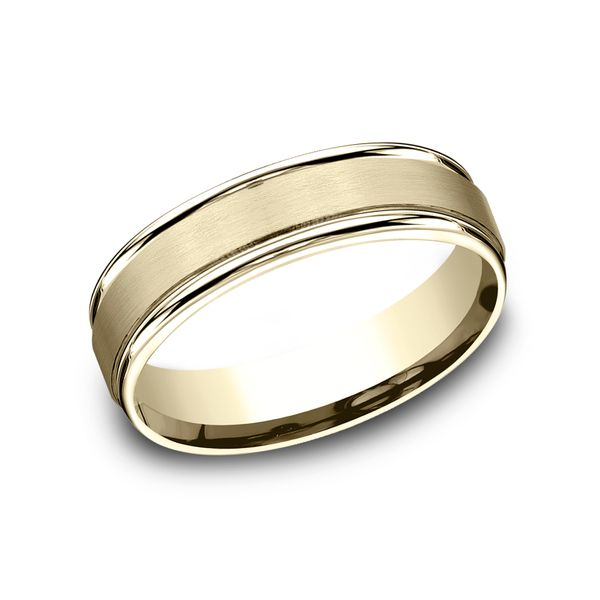14 Karat Yellow Gold Comfort Fit Wedding Band With Satin Finish Center, 6 MM J. Thomas Jewelers Rochester Hills, MI